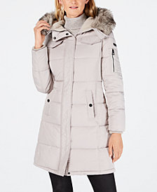 Lucky Brand Faux-Fur-Trim Hooded Puffer Coat