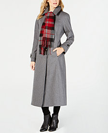 London Fog Maxi Wool-Blend Coat with Scarf