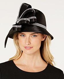 August Hats Rhinestone Satin-Stripe Cloche