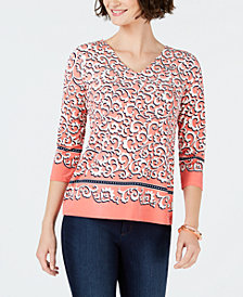 Charter Club Petite Scroll-Print V-Neck Top, Created for Macy's