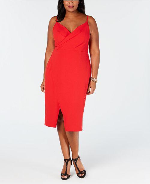 Betsey Johnson Plus Size Faux-Wrap Midi Dress & Reviews ...