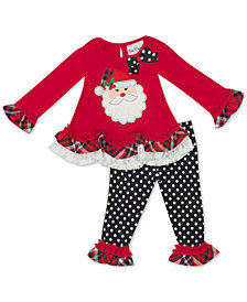 Rare Editions Baby Girls 2-Pc. Santa Top & Leggings Set