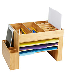 Mind Reader Bamboo Desk File Organizer, Brown