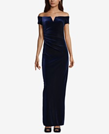 X by Xscape Velvet Off-The-Shoulder Gown