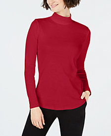 Charter Club Petite Cotton Mock Turtleneck Top, Created for Macy's
