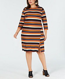 Monteau Trendy Plus Size Striped Sheath Dress