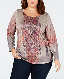Style & Co Plus Size Cotton Printed Top, Created for Macy's