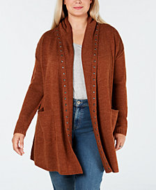 Style & Co Plus Size Studded Open Cardigan, Created for Macy's