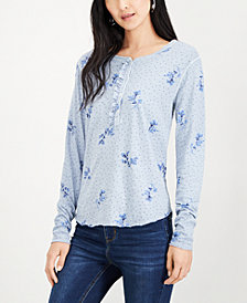Lucky Brand Cotton Printed Henley Shirt