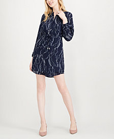 Maison Jules Printed Split-Neck Shirtdress, Created for Macy's