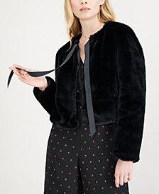 Maison Jules Tie-Neck Faux-Fur Jacket, Created for Macy's