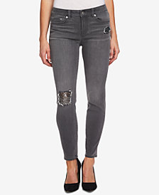 CeCe Gray Sequin Patch Skinny Jeans