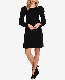 CeCe Puff-Sleeve Velvet Dress