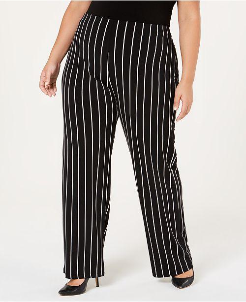 d3dbc5eb57f ... Alfani Plus Size Striped Wide-Leg Pants