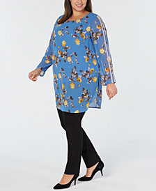 Alfani Plus Size Racer-Stripe Floral-Print Tunic, Created for Macy's