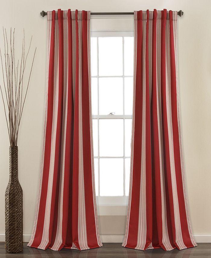 "Lush Décor - Julia Stripe 52""x84"" Room Darkening Window Curtain Set"