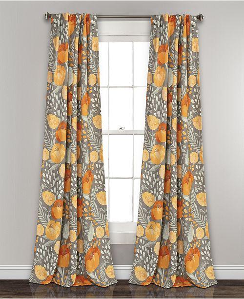 "Lush Decor Poppy Garden 84""x52"" Room Darkening Window Curtain Panels"