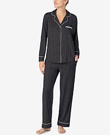 DKNY Printed Shirt Collar Top & Pajama Pants Set