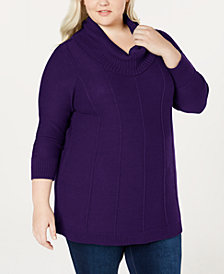 Belle by Belldini Plus Size Cowl-Neck Sweater