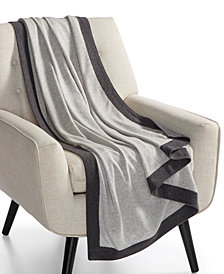 Hotel Collection Colorblocked Cashmere Throw, Created for Macy's