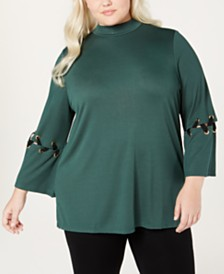 Love Scarlett Plus Size Lace-Up Detail Grommet Top