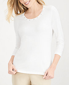 Karen Scott Petite Embellished Sweater, Created for Macy's