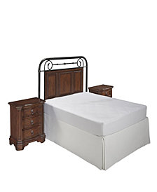 Crescent Hill King Leather Upholstered Headboard and Night Stand