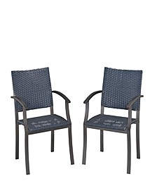 Stone Veneer Synthetic-Weave Arm Chairs Pair