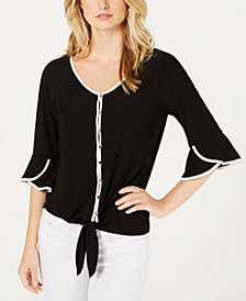NY Collection Petite Tulip-Sleeve Tie-Front Blouse
