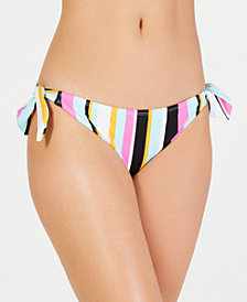 Hula Honey Striped Side-Tie Hipster Bottoms, Created for Macy's