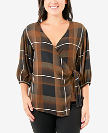 NY Collection Petite Plaid Blouson-Sleeve Wrap Top