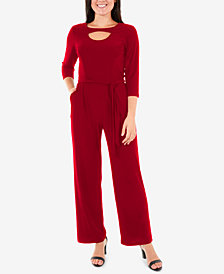 NY Collection Petite Cutout Wide-Leg Jumpsuit