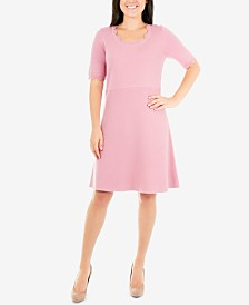 NY Collection Petite Scalloped Fit & Flare Sweater Dress