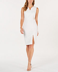Calvin Klein Logo Side-Slit Sheath Dress