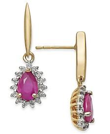 Ruby (1 ct. t.w.) & Diamond (1/5 ct. t.w.) Drop Earrings in 14k Gold