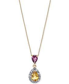 "Multi-Gemstone (1-1/5 ct. t.w.) & Diamond (1/6 ct. t.w.) 18"" Pendant Necklace in 14k Gold"