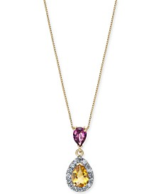 "Multi-Gemstone (1-1/5 ct. t.w.) & Diamond (1/6 ct. t.w.) 18"" Pendant Necklace in 14k Gold"