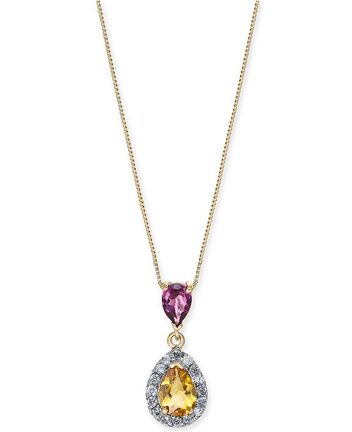 "Macy's Multi-Gemstone (1-1/5 ct. t.w.) & Diamond (1/6 ct. t.w.) 18"" Pendant Necklace in 14k Gold"