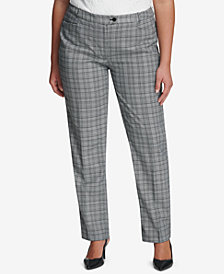 Calvin Klein Plus Size Plaid Straight-Leg Pants
