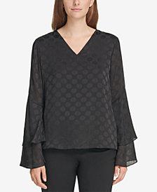 Calvin Klein Printed Ruffle-Sleeve Blouse