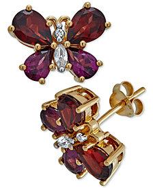 Multi-Gemstone Butterfly Stud Earrings (5 ct. t.w.) in 14k Gold-Plated Sterling Silver