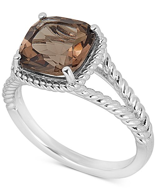 Macy's Smoky Quartz Rope Frame Ring (3 ct. t.w.) in Sterling Silver (Also available in Mystic Topaz)