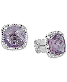 Light Amethyst Rope Frame Stud Earrings (6 ct. t.w.) in Sterling Silver (Also in Smoky Quartz, Blue Topaz, Dark Amethyst)
