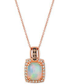 "Le Vian® Opal (1-5/8 ct. t.w.) & Diamond (3/8 ct. t.w.) 18"" Pendant Necklace in 14k Rose Gold"