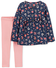 Carter's Baby Girls 2-Pc. Floral Top & Leggings Set