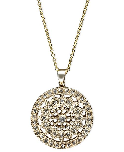 Effy Collection Effy Diamond Disc Pendant Necklace 1 4 Ct