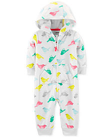 Carter's Baby Girls Bird-Print Hooded Fleece Coverall