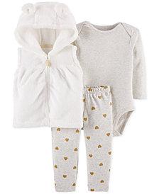 Carter's Baby Girls 3-Pc. Faux-Fur Hooded Vest, Bodysuit & Pants Set