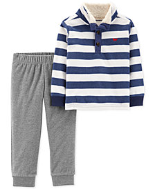 Carter's Toddler Boys 2-Pc. Striped Shirt & Jogger Pants Set