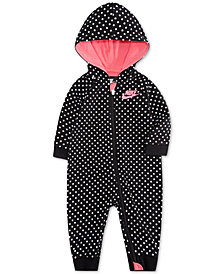 Nike Baby Girls Hooded Dot-Print Coverall